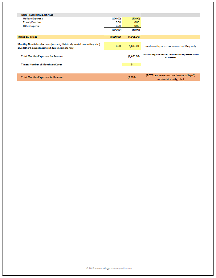 Smith family example cash reserve calculation - page 1