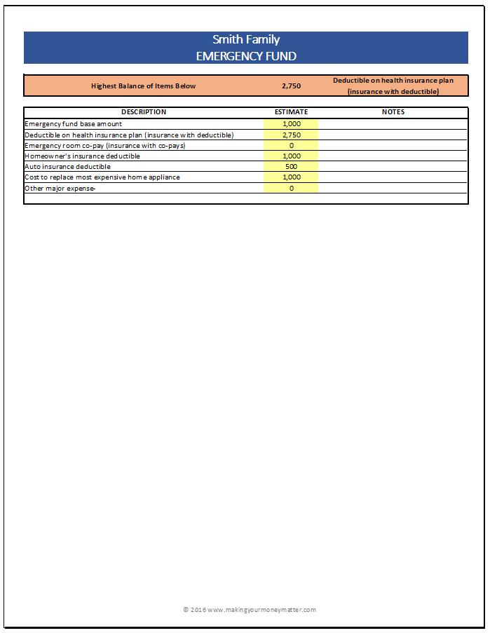 Smith Emergency Fund Calculation