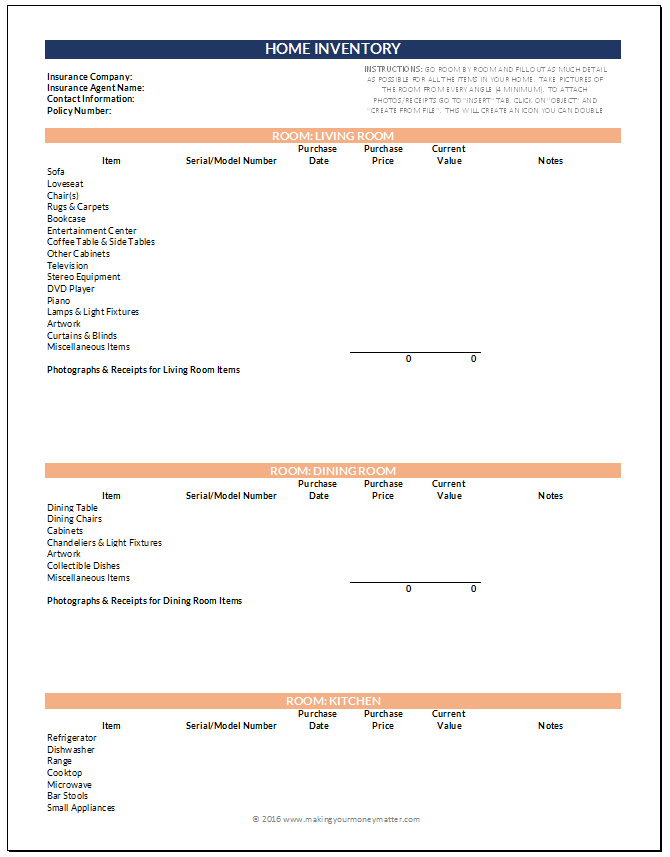 Home Inventory Preview Page 1