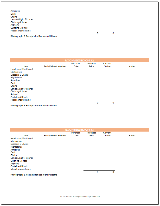 Home Inventory Preview Page 3