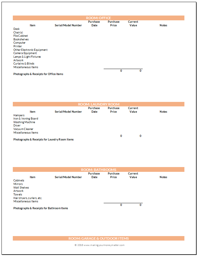 Home Inventory Preview Page 4