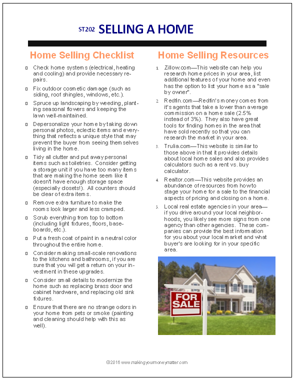 ST202 Selling a Home Handout