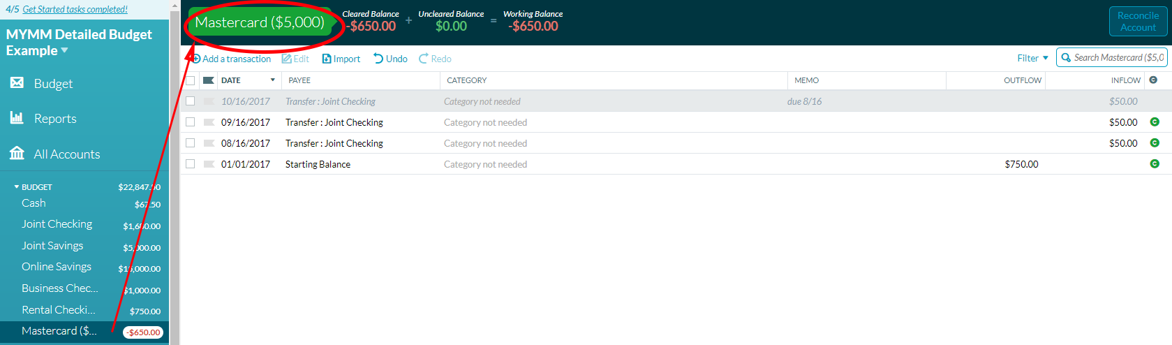 Using YNAB to track credit card limits
