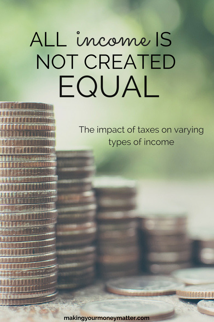 All income is NOT created equal. This is a great summary about how taxes affect how much you really get to keep from your income depending on the income type. Moral of the story: INVEST!